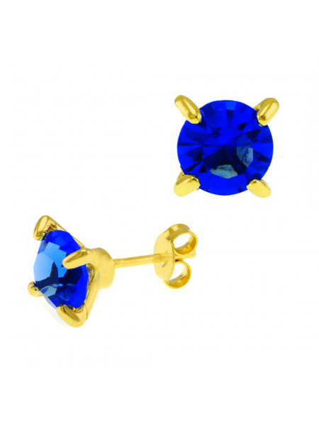 Brinco Ponto Luz Horus Import Azul Zafira Banhado Ouro Amarelo 18 K - 1031103