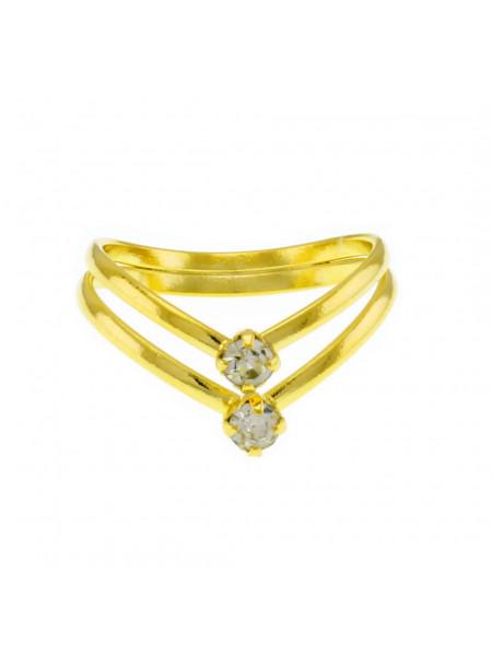 Anel Dois Fios V Horus Import Banhado ouro 18 K - 1010084