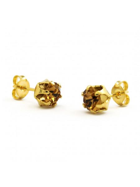 Brinco Horus Import Ponto De Luz Amarelo Citrino Banhado Ouro 18 K - 1030013