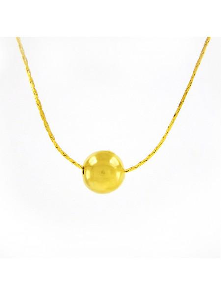 Gargantilha com Bola Dourada Banhada Ouro 18 k - 1060004