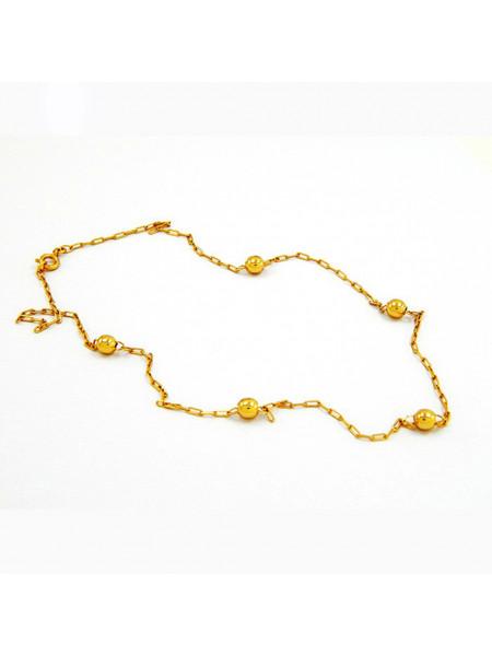 Gargantilha com Bolas Douradas Banhada Ouro 18 k - 1060005