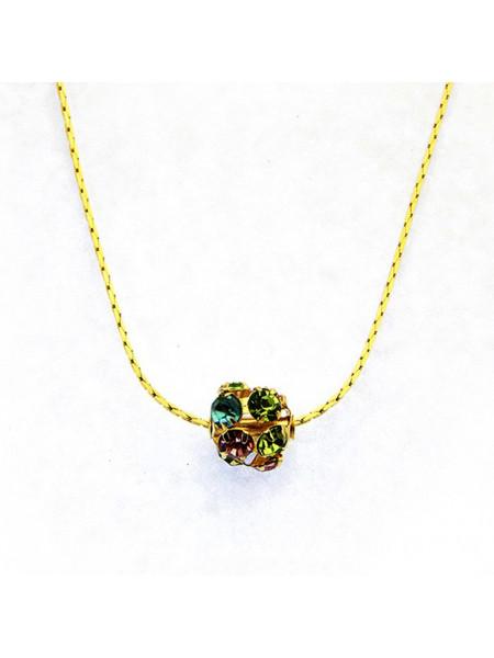 Gargantilha Banhada Ouro 18 k com Pingente Color Strass - 1060012