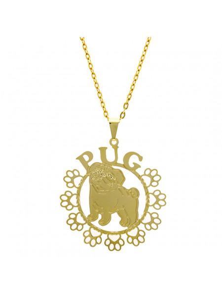Gargantilha Horus Import Pug Banhada Ouro Amarelo 18 K 1060172