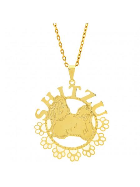 Gargantilha Horus Import Shitzu Banhada Ouro Amarelo 18 K 1060174