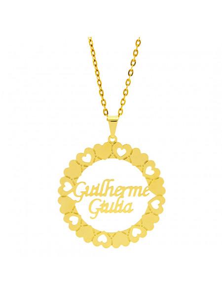 Gargantilha Mandala Horus Import Manuscrito Guilherme - Giulia Banho Ouro Amarelo 18 K - 1060193