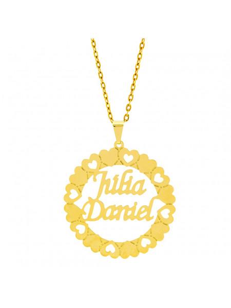 Gargantilha Mandala Horus Import Manuscrito Júlia Daniel Banho Ouro Amarelo 18 K - 1060196