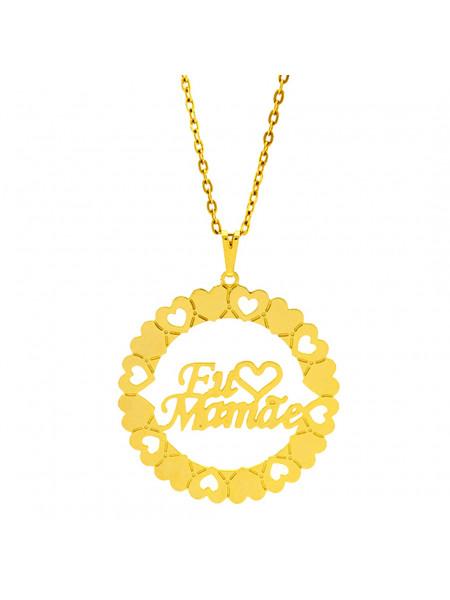 Gargantilha Mandala Horus Import Manuscrito Eu ♥ Mamãe Banho Ouro Amarelo 18 K - 1060203