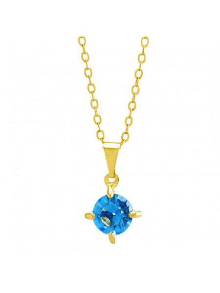 Gargantilha Ponto Luz Aquamarine Banhada Ouro 18 K - 1061104