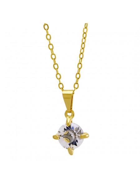 Gargantilha Ponto Luz Cristal Banhada Ouro 18 K - 1061106