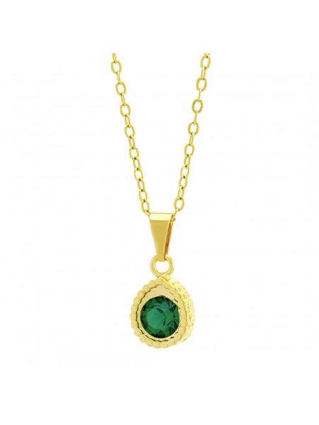 Gargantilha Ponto Luz Gotinha Verde Esmeralda Banhada Ouro 18 K - 1061113