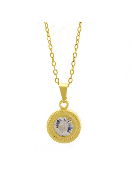 Gargantilha Horus Import Ponto Luz Eye Cristal Banhada Ouro 18 K - 1061136