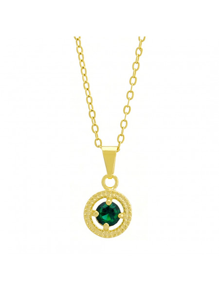 Gargantilha Horus Import Ponto Luz Medal Verde Esmeralda Banhada Ouro 18 K - 1061143