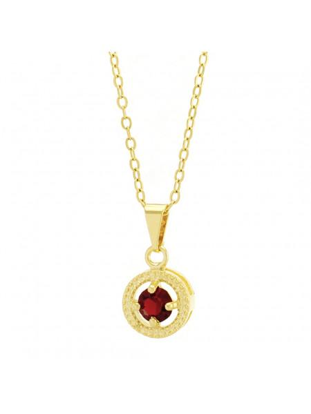 Gargantilha Horus Import Ponto Luz Medal Vermelho Rubi Banhada Ouro 18 K - 1061144