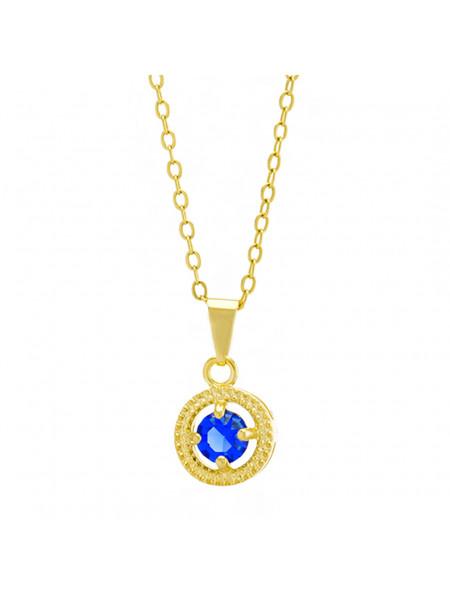 Gargantilha Horus Import Ponto Luz Medal Azul Zafira Banhada Ouro 18 K - 1061145