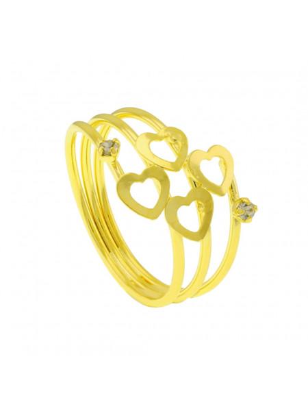 Anel Corações Horus Import três fios Banhado Ouro Amarelo 18 k - 1010032