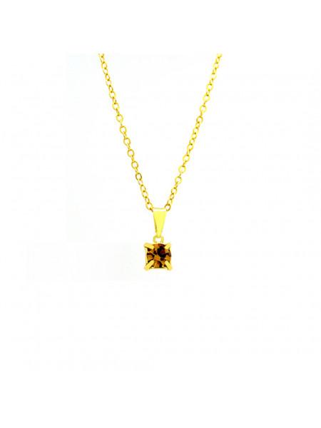 Gargantilha Ponto De Luz Amarelo Citrino Banhada Ouro 18 K - 1060155