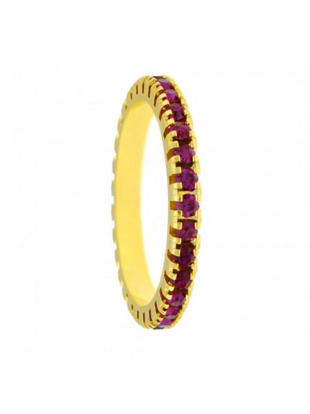 Aliança Aparador Horus Import Cravejada Strass Rosa Pink Banhada Ouro Amarelo 18 K - 1010029
