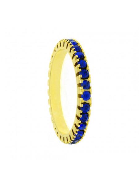 Aliança Aparador Horus Import Cravejada Strass Azul Safira Banhada Ouro Amarelo 18 K - 1010028
