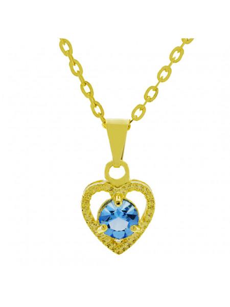 Gargantilha Ponto Luz Coração Horus Import Aquamarine Banhada Ouro 18 K - 1061128