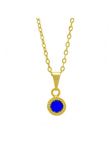 Gargantilha Ponto Luz Redondo Azul Zafira Banhada Ouro 18 K - 1061109