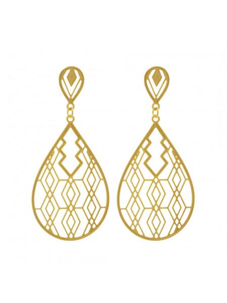 Brinco Gota Trabalhado Mosaico Banhado Ouro Amarelo 18k - 1030052