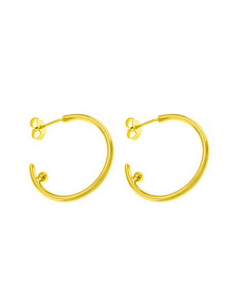 Par Brincos Argola Banhado Em Ouro Amarelo 18 k - 1030045