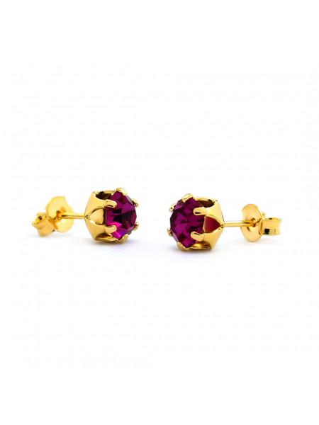 Brinco Horus Import Ponto De Luz Violeta Ametista Banhado Ouro 18 K - 1030010
