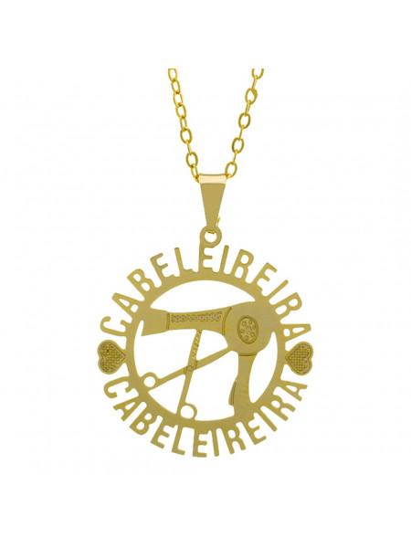 Gargantilha Profissões Pingente CABELEIREIRA Banhada Ouro Amarelo 18K - 1061258