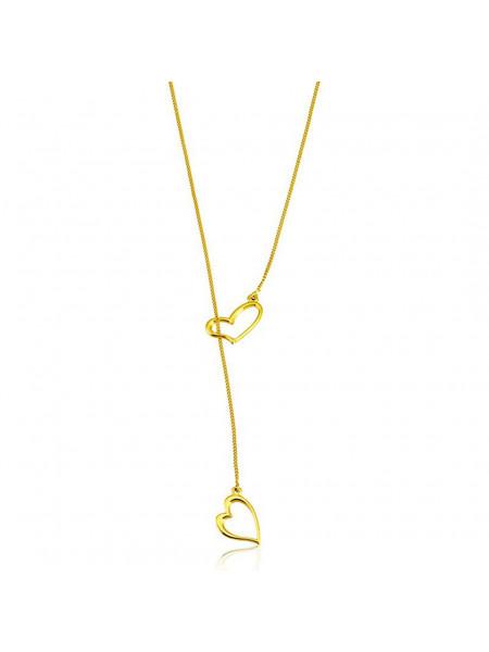 Colar Gravata Corações Horus Import Banhada em Ouro Amarelo 18 K - 1061197
