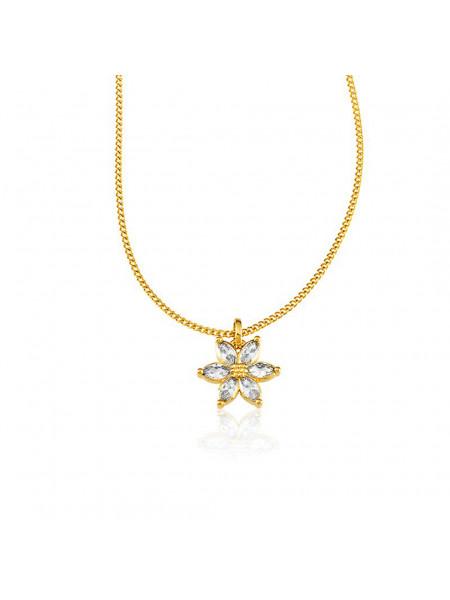 Gargantilha Linda Flor Cravejada Pedra Zircônia Banhada em Ouro 18 K - 1061222