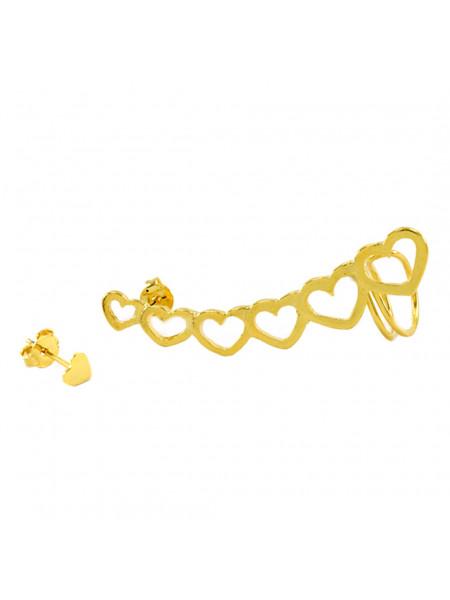 Brinco Ear Cuff Corações Banhado Em Ouro Amarelo 18 k - 1030048