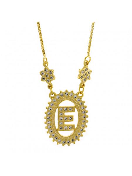 """Colar Letra """"E"""" Cravejada Zircônia Banhado Ouro Amarelo 18 K - 1061233"""