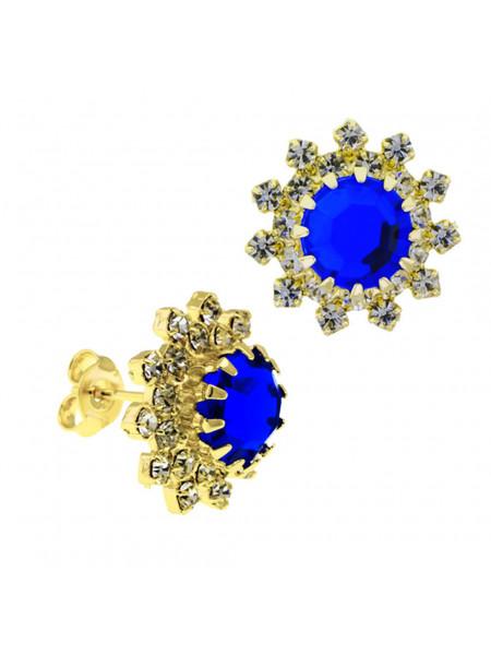 Par Brincos Girassol Azul Safira Banhado Ouro Amarelo 18K 1030039