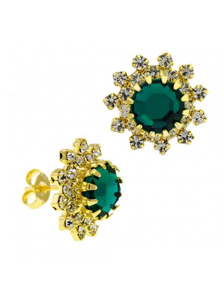 Par Brincos Girassol Verde Esmeralda Banhado Ouro Amarelo 18K 1030041