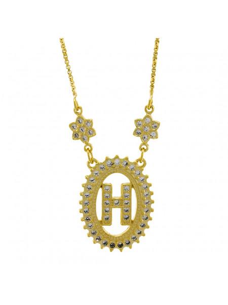 "Colar Letra "" H "" Cravejada Zircônia Banhado Ouro Amarelo 18 K - 1061236"