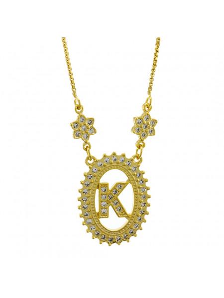 "Colar Letra "" K "" Cravejada Zircônia Banhado Ouro Amarelo 18 K - 1061239"