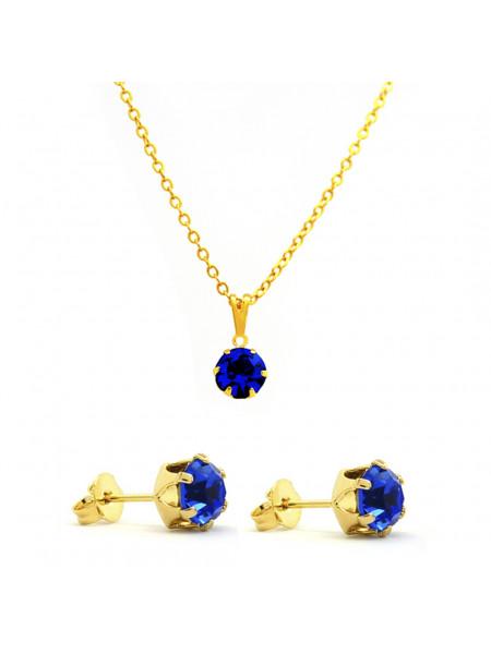 Kit Ponto Luz Azul Topázio - Gargantilha - Brincos Banhado Ouro 18k - KIT10527