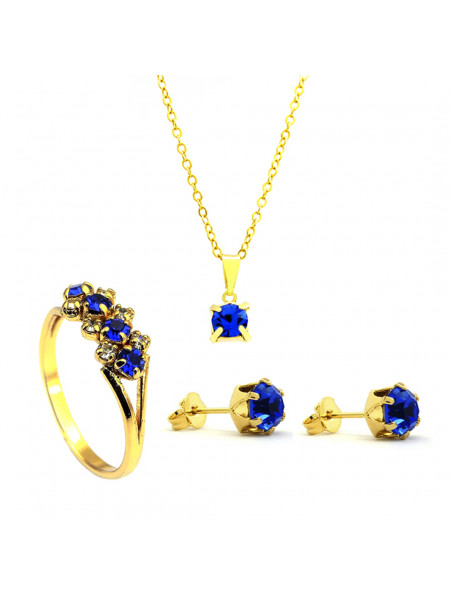 Kit Horus Import Azul Topázio - Gargantilha Pingente Quadrado - Brincos - Anel - Banhado Ouro 18k - KIT10542