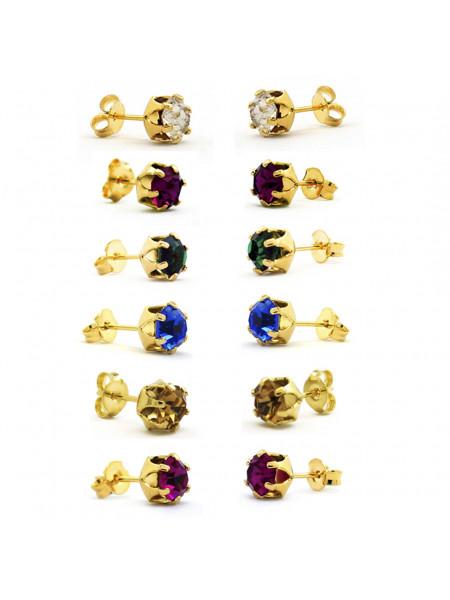 Kit Horus Import 6 Brincos Ponto de Luz - Banhado em Ouro 18 K - KIT10547