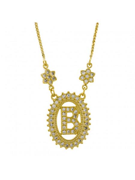 "Colar Letra ""B"" Cravejada Zircônia Banhado Ouro Amarelo 18 K - 1061230"