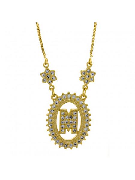 "Colar Letra "" M "" Cravejada Zircônia Banhado Ouro Amarelo 18 K - 1061241"