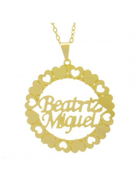 Gargantilha Pingente Mandala Manuscrito Beatriz Miguel Banho Ouro Amarelo 18 K - 1061279