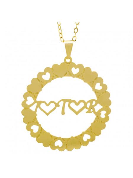 Gargantilha Pingente Mandala Manuscrito I ♥ T ♥ R Banho Ouro Amarelo 18 K - 1061280