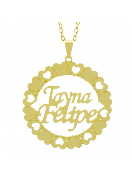 Gargantilha Pingente Mandala Manuscrito Tayna Felipe Banho Ouro Amarelo 18 K - 1061281