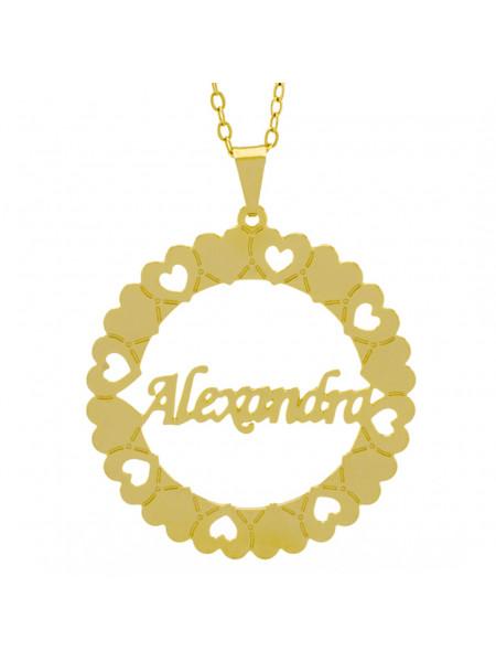 Gargantilha Pingente Mandala Manuscrito Alexandra Banho Ouro Amarelo 18 K - 1061284