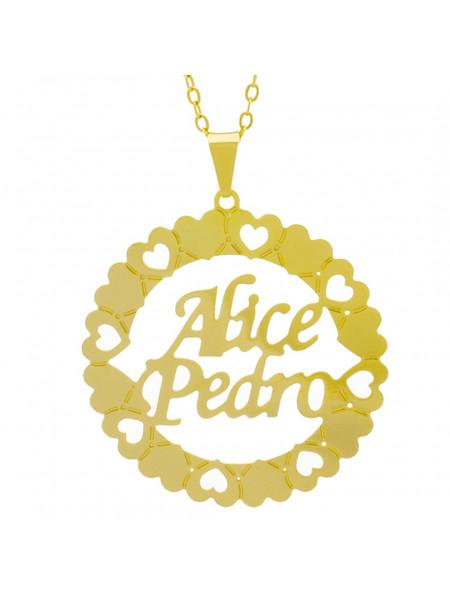 Gargantilha Pingente Mandala Manuscrito Alice Pedro Banho Ouro Amarelo 18 K - 1061286