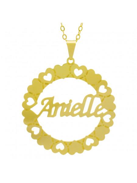 Gargantilha Pingente Mandala Manuscrito Anielle Banho Ouro Amarelo 18 K - 1061288