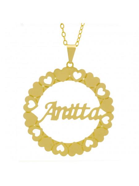 Gargantilha Pingente Mandala Manuscrito Anitta Banho Ouro Amarelo 18 K - 1061287