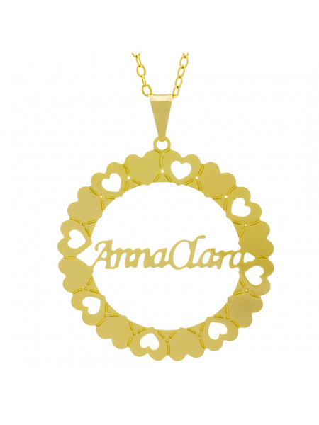 Gargantilha Pingente Mandala Manuscrito Anna Clara Banho Ouro Amarelo 18 K - 1061289