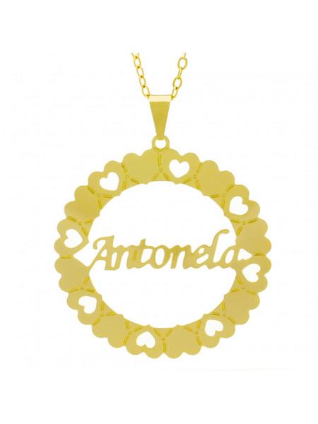 Gargantilha Pingente Mandala Manuscrito Antonela Banho Ouro Amarelo 18 K - 1061290